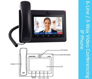 6-Line 3-Way Video Conferencing IP Phone Hammer Solutions Inc