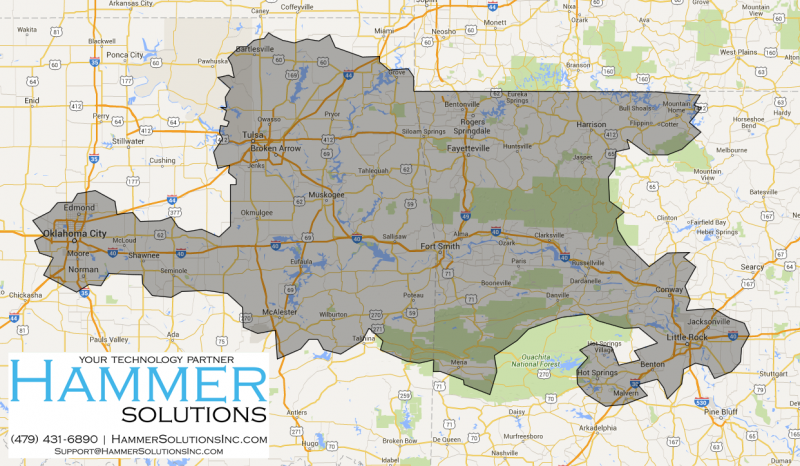Hammer Solutions Inc Fort Smith Arkansas Service Map Service Areas