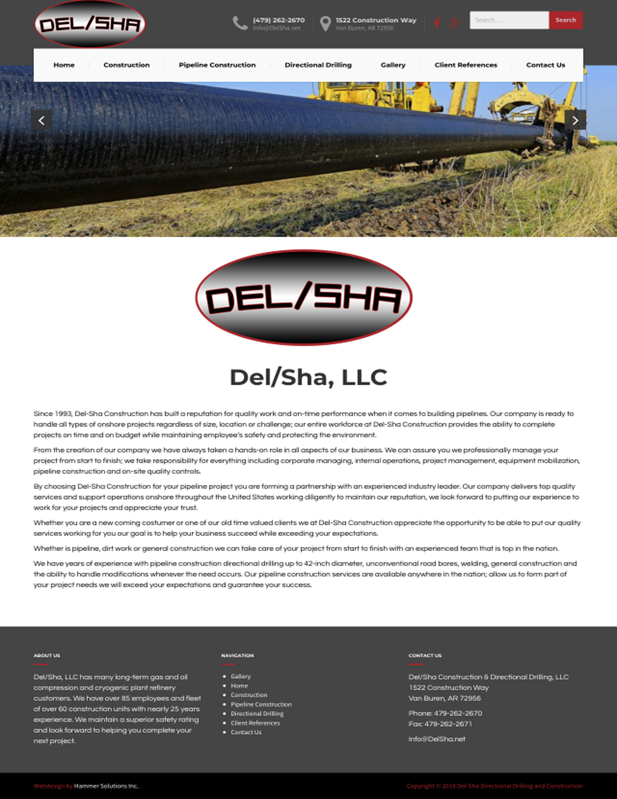 Del Sha Construction Del-Sha Pipeline DelSha Directional Drilling Van Buren Arkansas Hammer Solutions Website Design Web Design Web Development